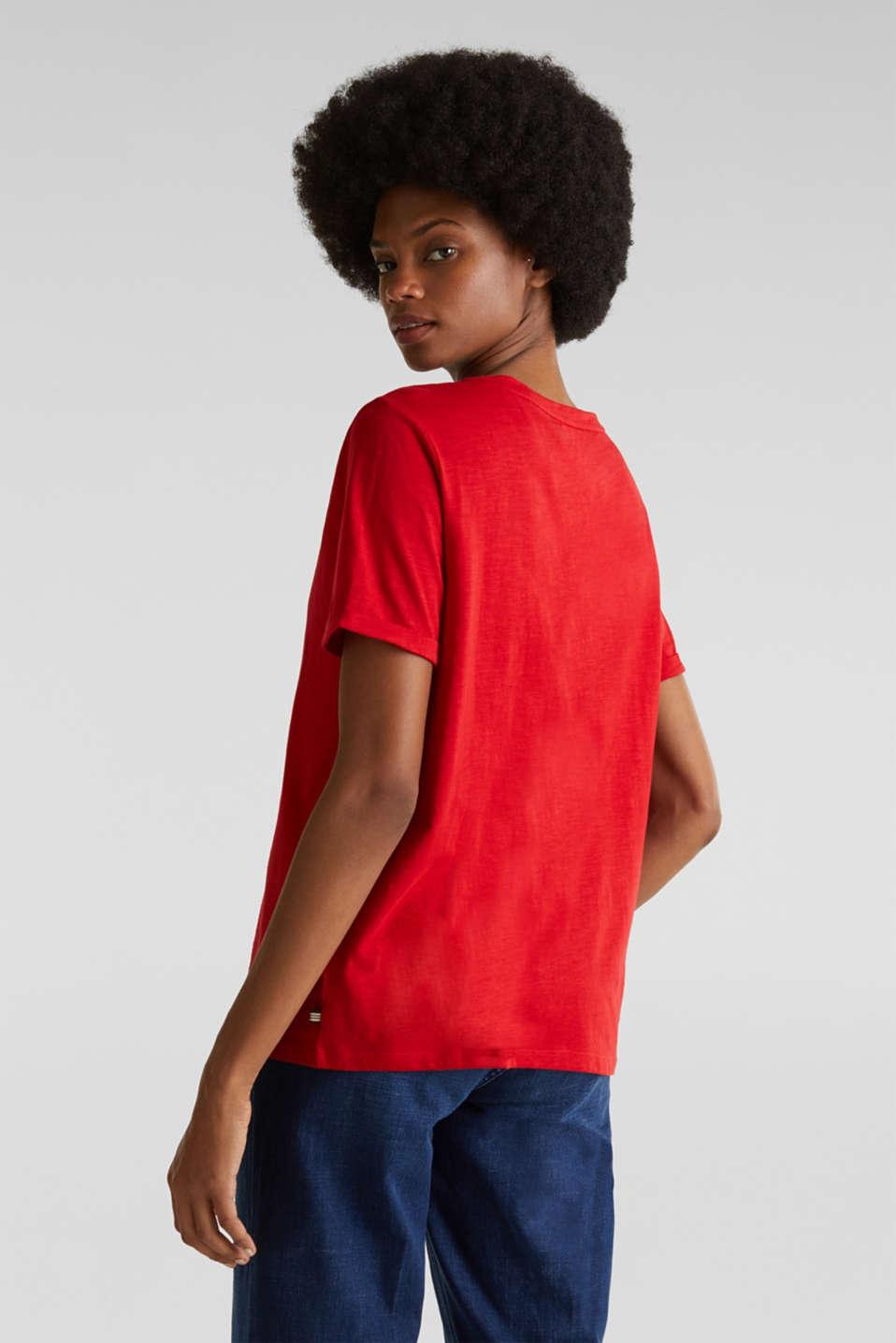 Slub T-shirt with a Henley neckline, 100% cotton, DARK RED 3, detail image number 3