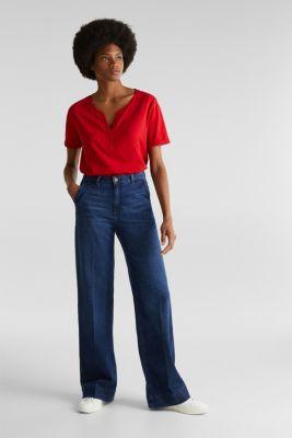 100% cotton Henley T-shirt, DARK RED 3, detail