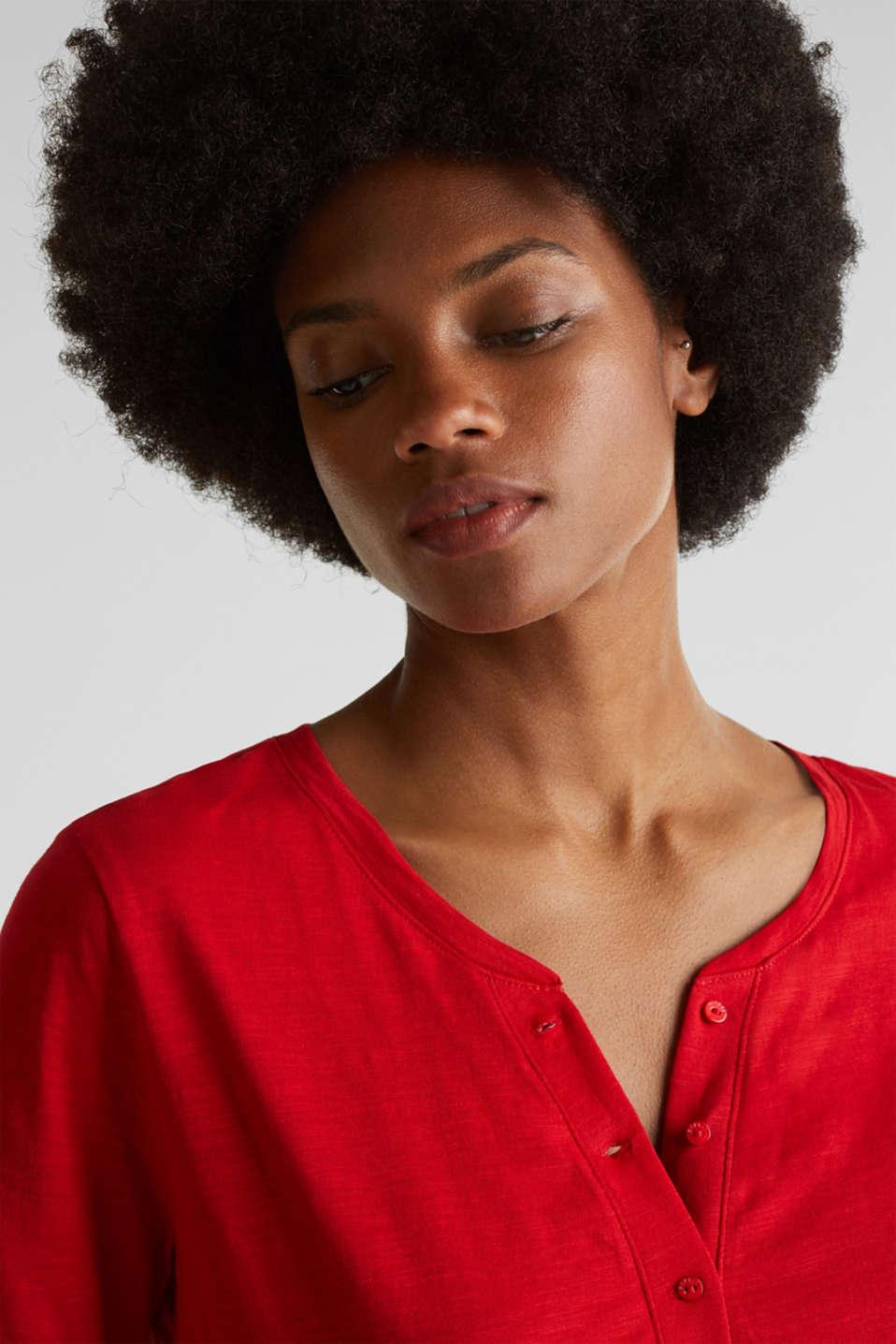 Slub T-shirt with a Henley neckline, 100% cotton, DARK RED 3, detail image number 5