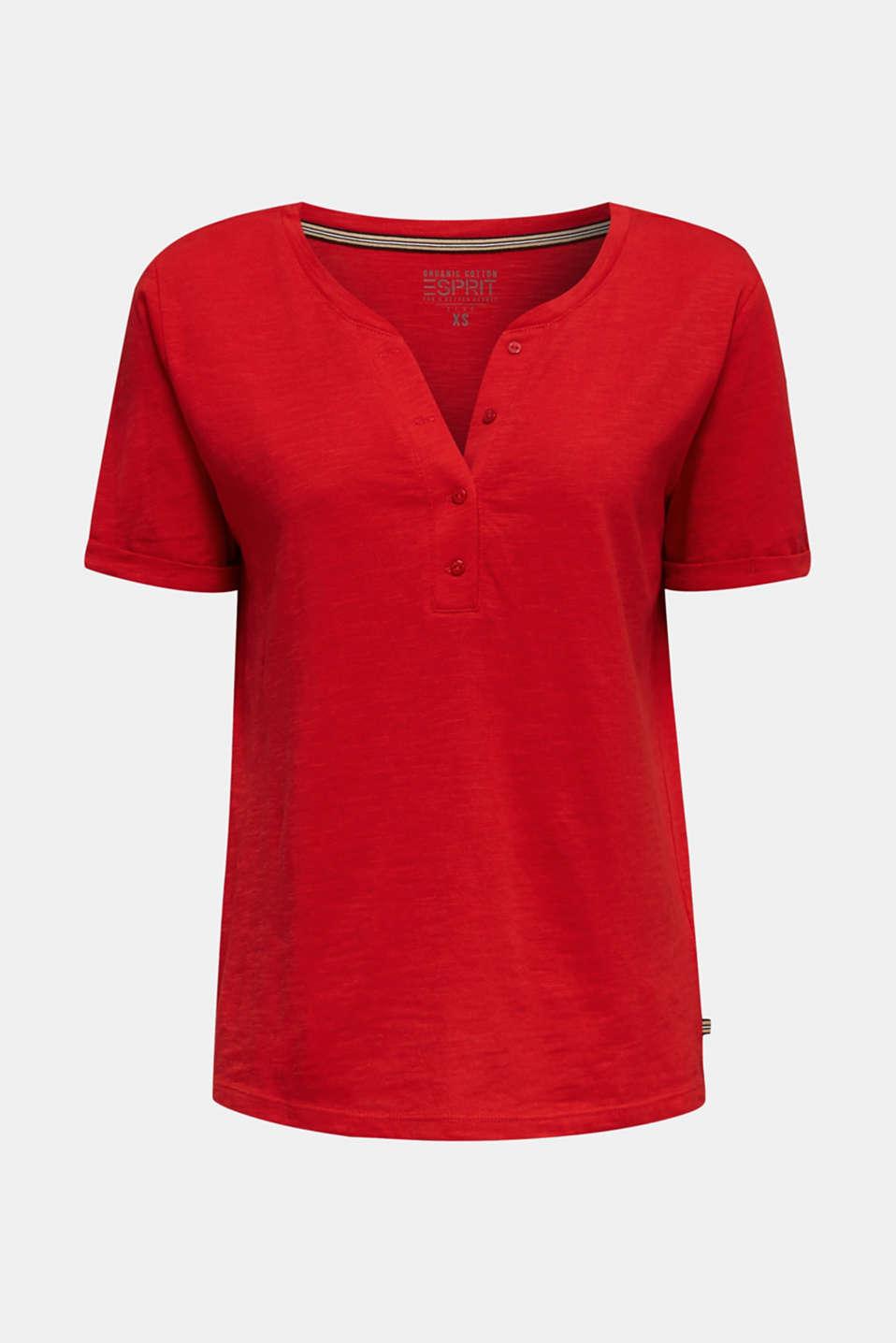 Slub T-shirt with a Henley neckline, 100% cotton, DARK RED 3, detail image number 6