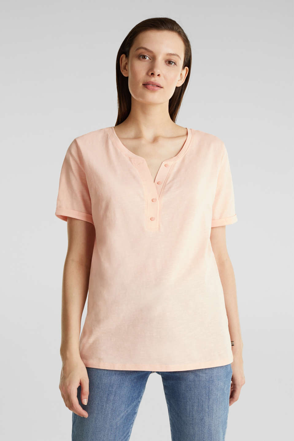 Esprit - 100% cotton Henley T-shirt