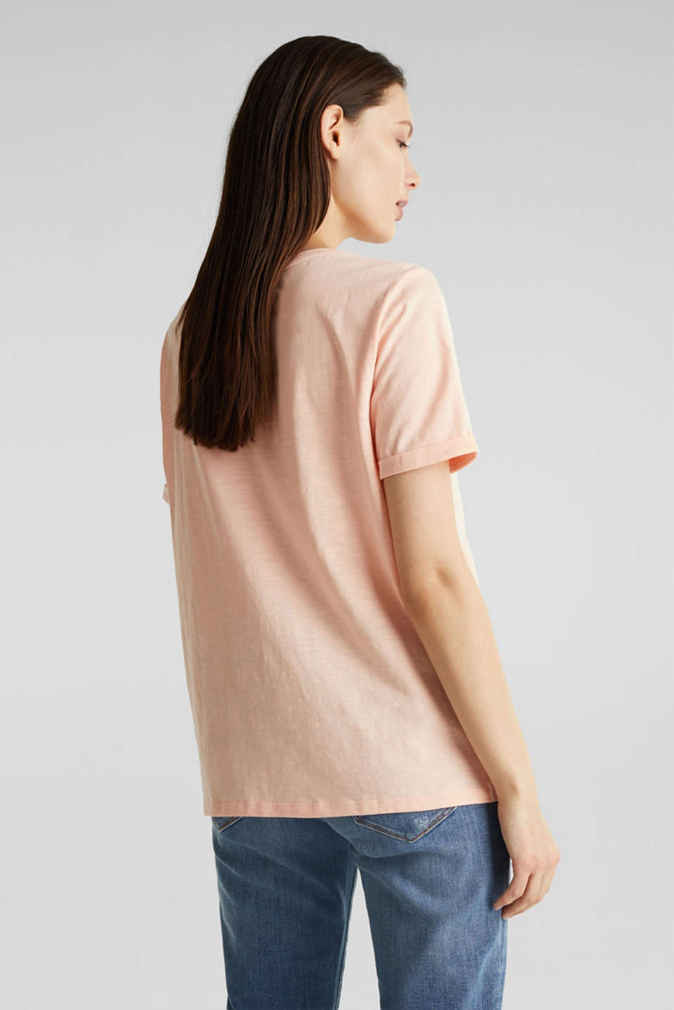 100% cotton Henley T-shirt, PEACH 4, detail image number 3