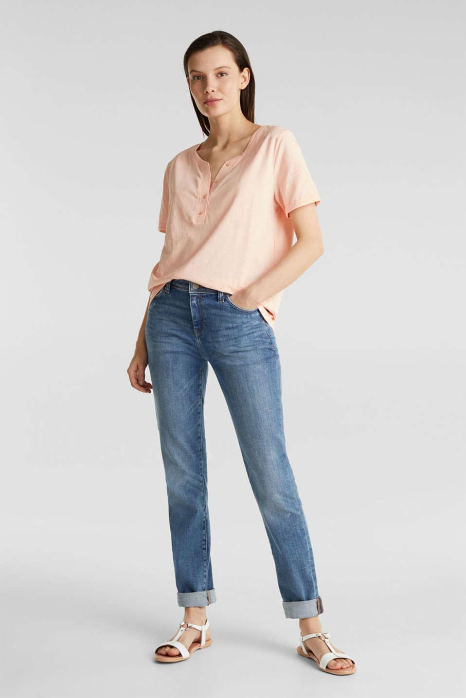100% cotton Henley T-shirt, PEACH 4, detail image number 1