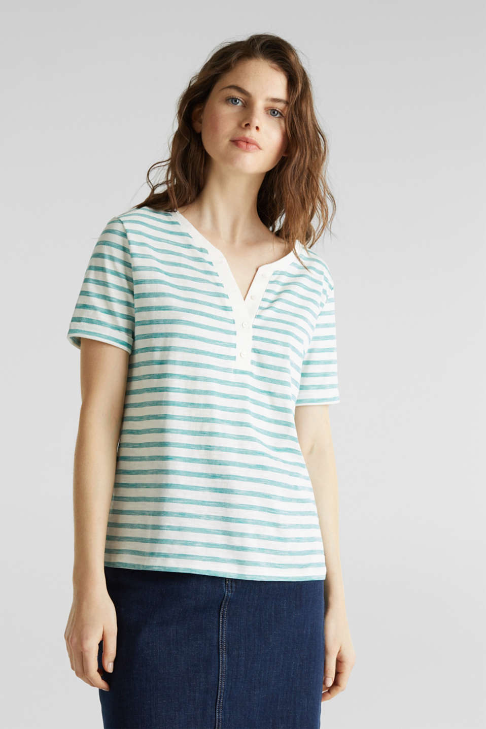 Striped Henley T-shirt, 100% organic cotton, TEAL GREEN 4, detail image number 0