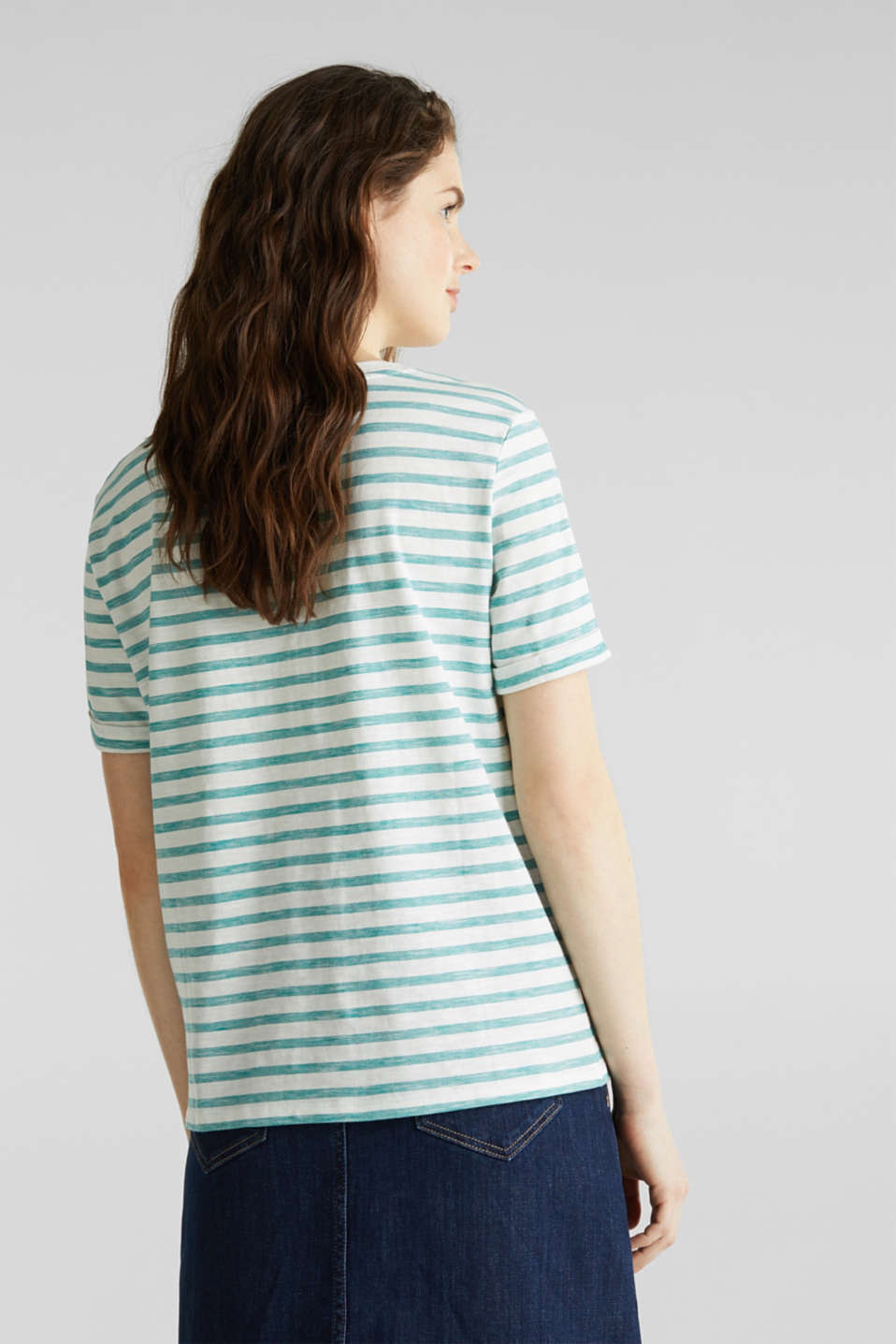 Striped Henley T-shirt, 100% organic cotton, TEAL GREEN 4, detail image number 2