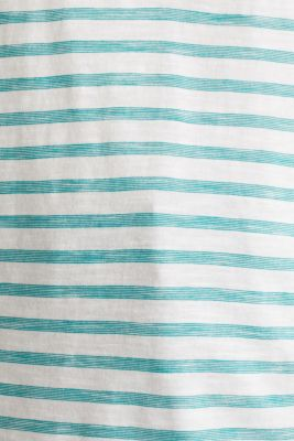 Striped Henley T-shirt, 100% organic cotton, TEAL GREEN 4, detail