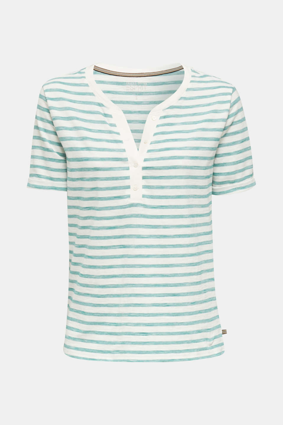 Striped Henley T-shirt, 100% organic cotton, TEAL GREEN 4, detail image number 6