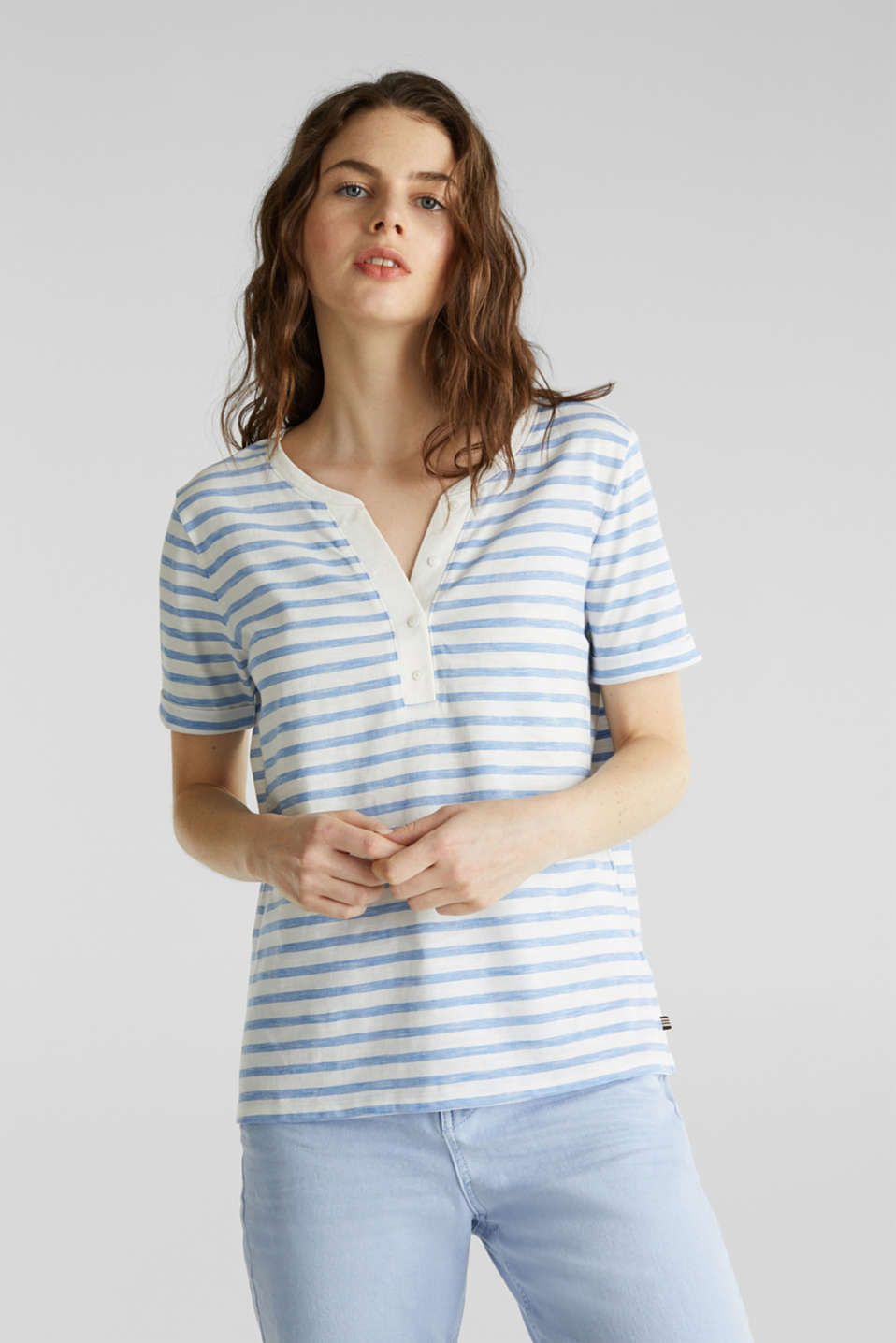 Esprit - Striped Henley T-shirt, 100% organic cotton