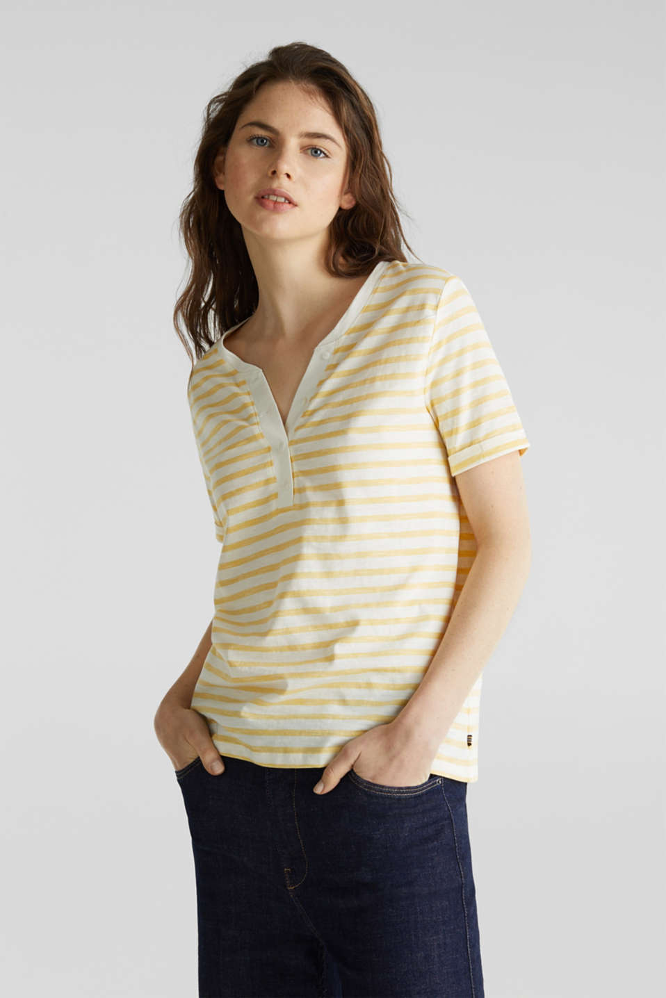 Striped Henley T-shirt, 100% organic cotton, YELLOW 3, detail image number 0