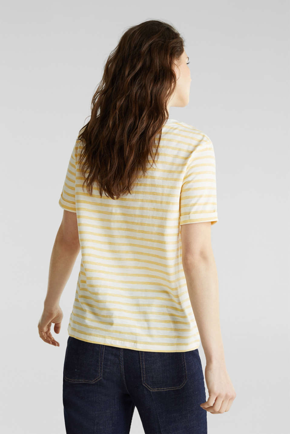 Striped Henley T-shirt, 100% organic cotton, YELLOW 3, detail image number 2