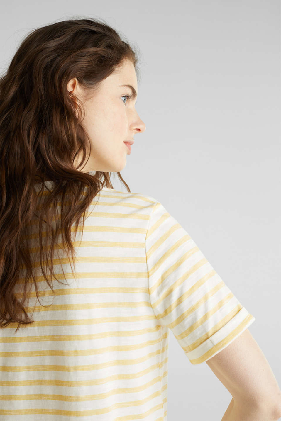 Striped Henley T-shirt, 100% organic cotton, YELLOW 3, detail image number 4