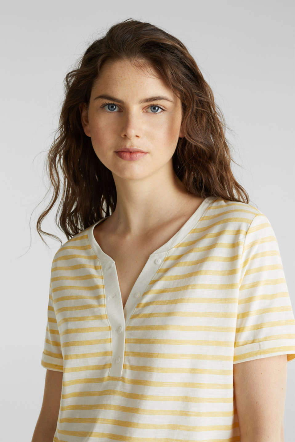 Striped Henley T-shirt, 100% organic cotton, YELLOW 3, detail image number 5