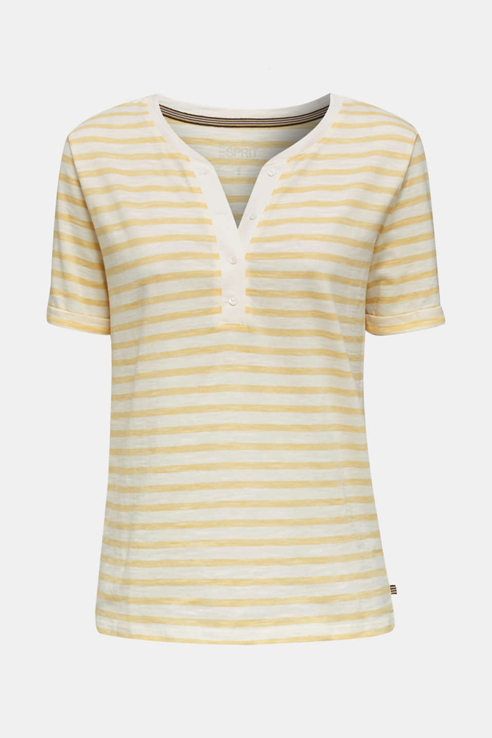 Striped Henley T-shirt, 100% organic cotton, YELLOW 3, detail image number 6
