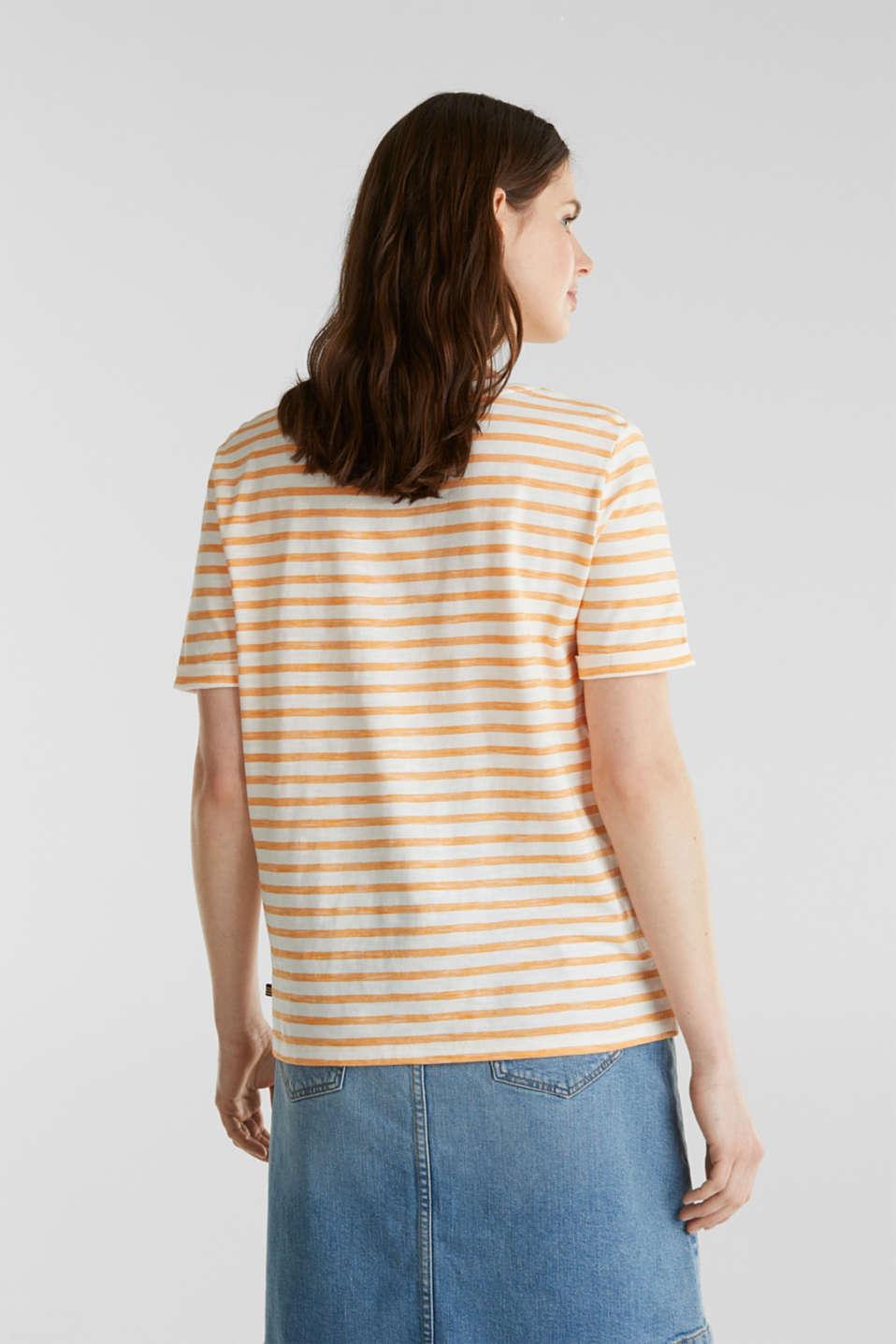 Striped Henley T-shirt, 100% organic cotton, ORANGE 4, detail image number 3