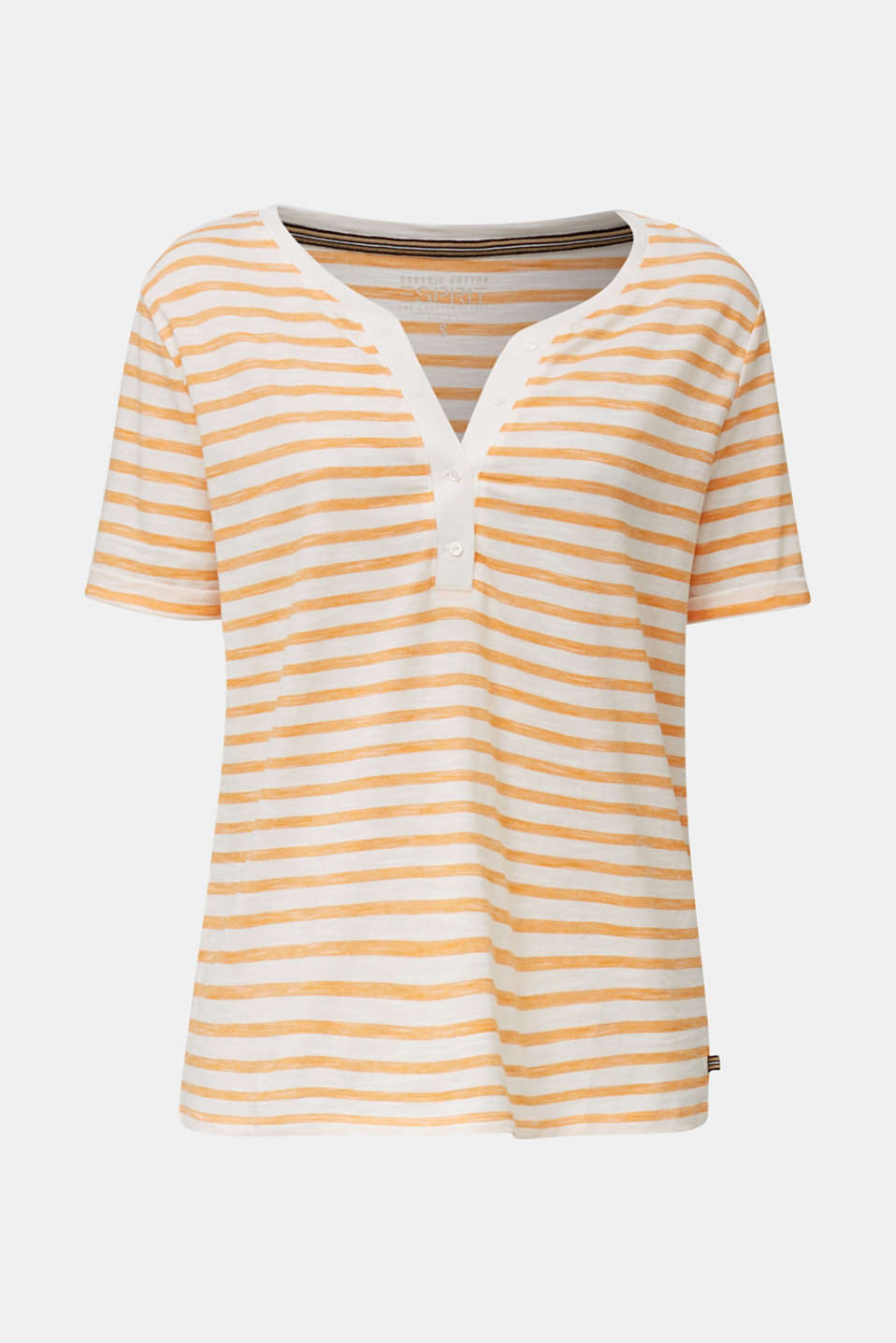 Striped Henley T-shirt, 100% organic cotton, ORANGE 4, detail image number 7