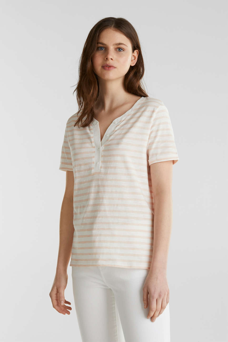 Striped Henley T-shirt, 100% organic cotton, PEACH 4, detail image number 0