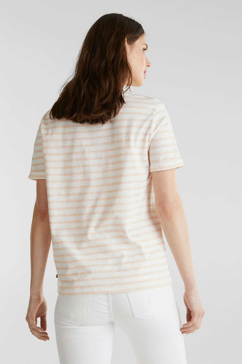 Striped Henley T-shirt, 100% organic cotton, PEACH 4, detail image number 3