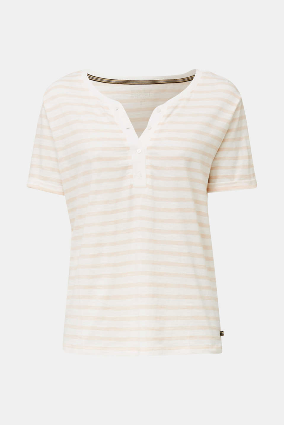 Striped Henley T-shirt, 100% organic cotton, PEACH 4, detail image number 7