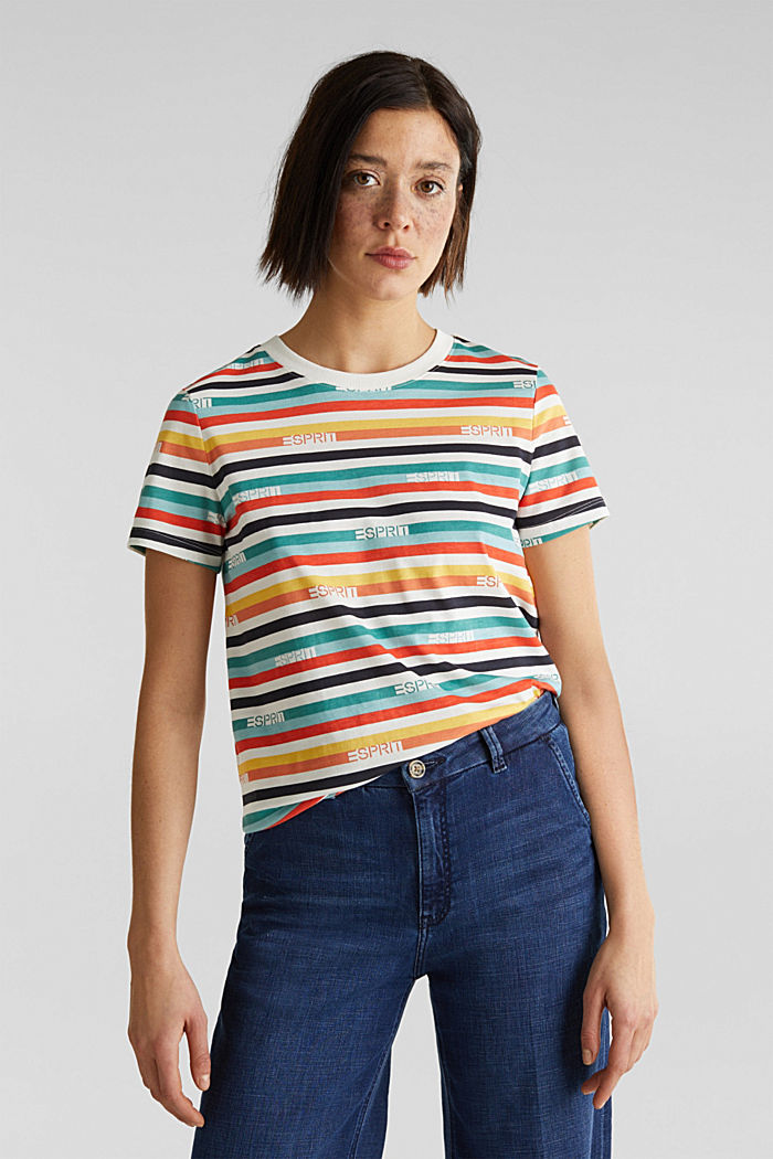 T-shirt with multi-coloured stripes, 100% cotton, OFF WHITE, detail image number 0