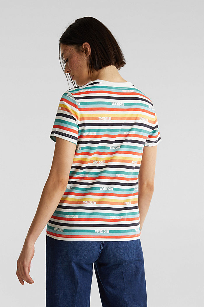 T-shirt with multi-coloured stripes, 100% cotton, OFF WHITE, detail image number 2