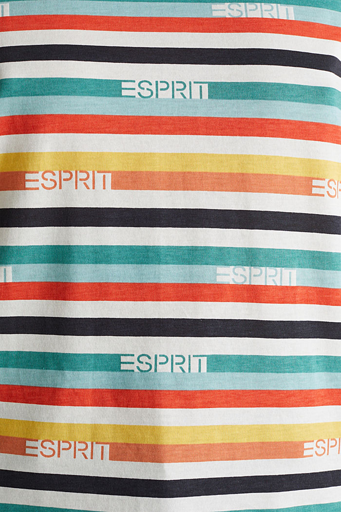 T-shirt with multi-coloured stripes, 100% cotton, OFF WHITE, detail image number 3