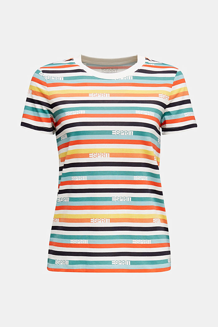 T-shirt with multi-coloured stripes, 100% cotton, OFF WHITE, detail image number 6