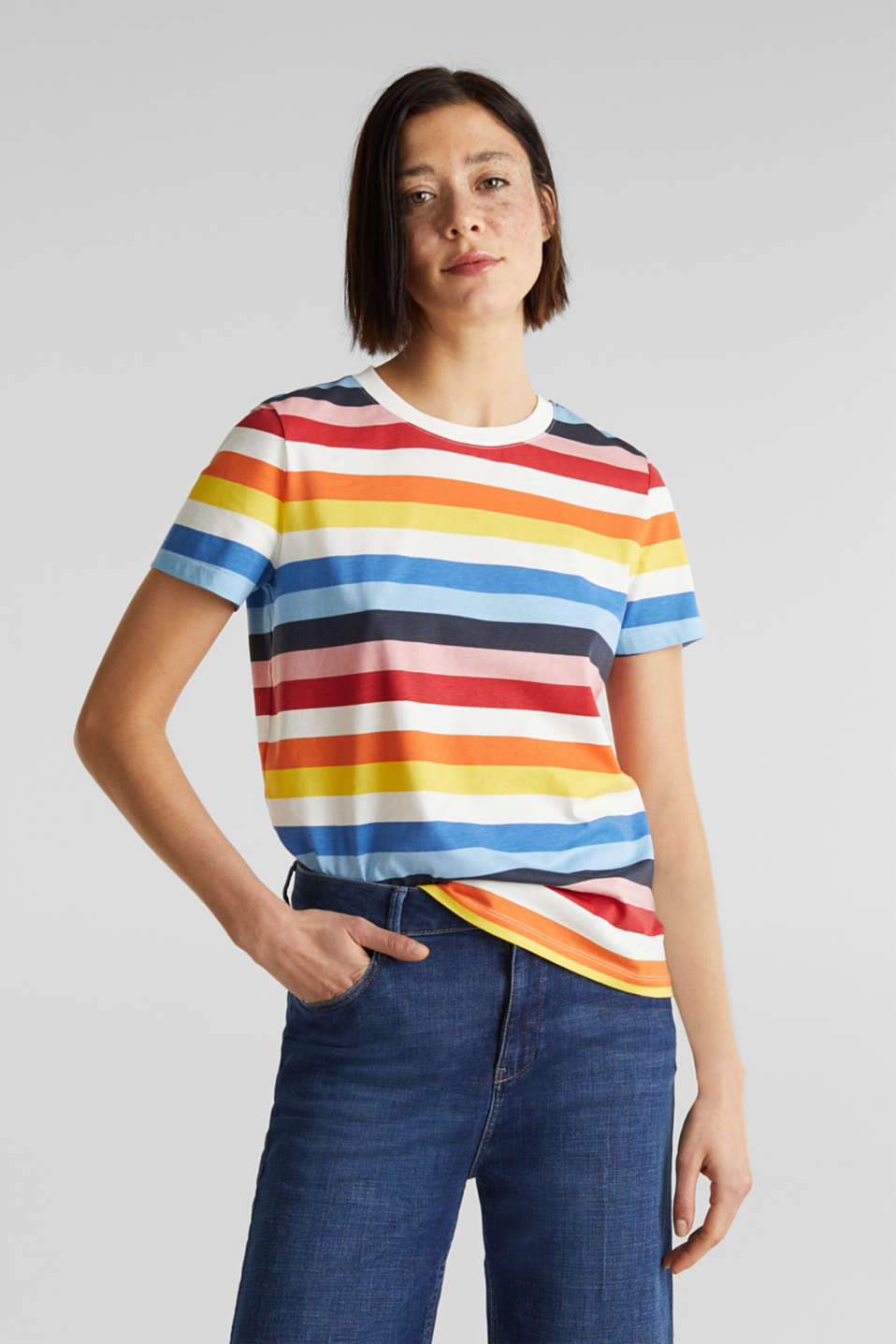 T-shirt with multi-coloured stripes, 100% cotton, BRIGHT BLUE 2, detail image number 0
