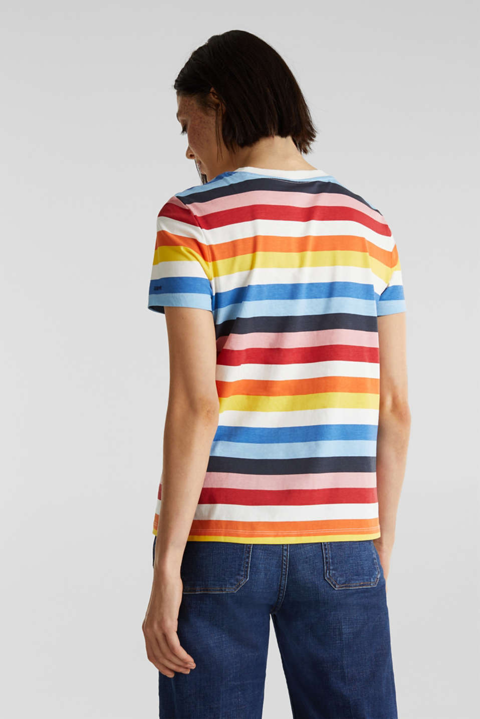 T-shirt with multi-coloured stripes, 100% cotton, BRIGHT BLUE 2, detail image number 2