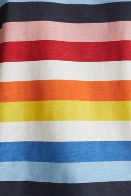 T-shirt with multi-coloured stripes, 100% cotton, BRIGHT BLUE 2, detail