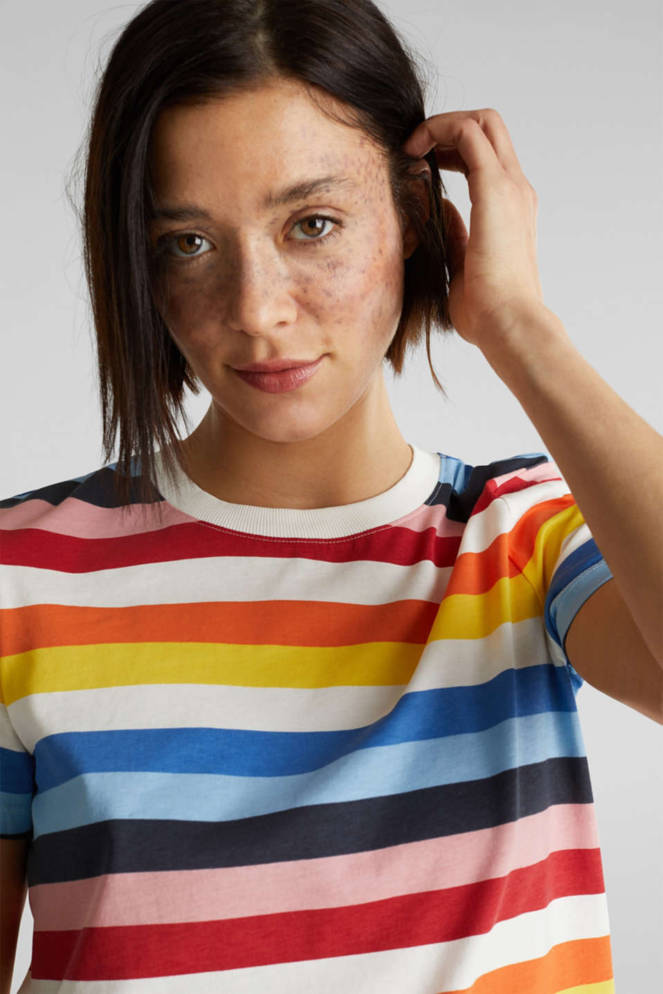 T-shirt with multi-coloured stripes, 100% cotton, BRIGHT BLUE 2, detail image number 4