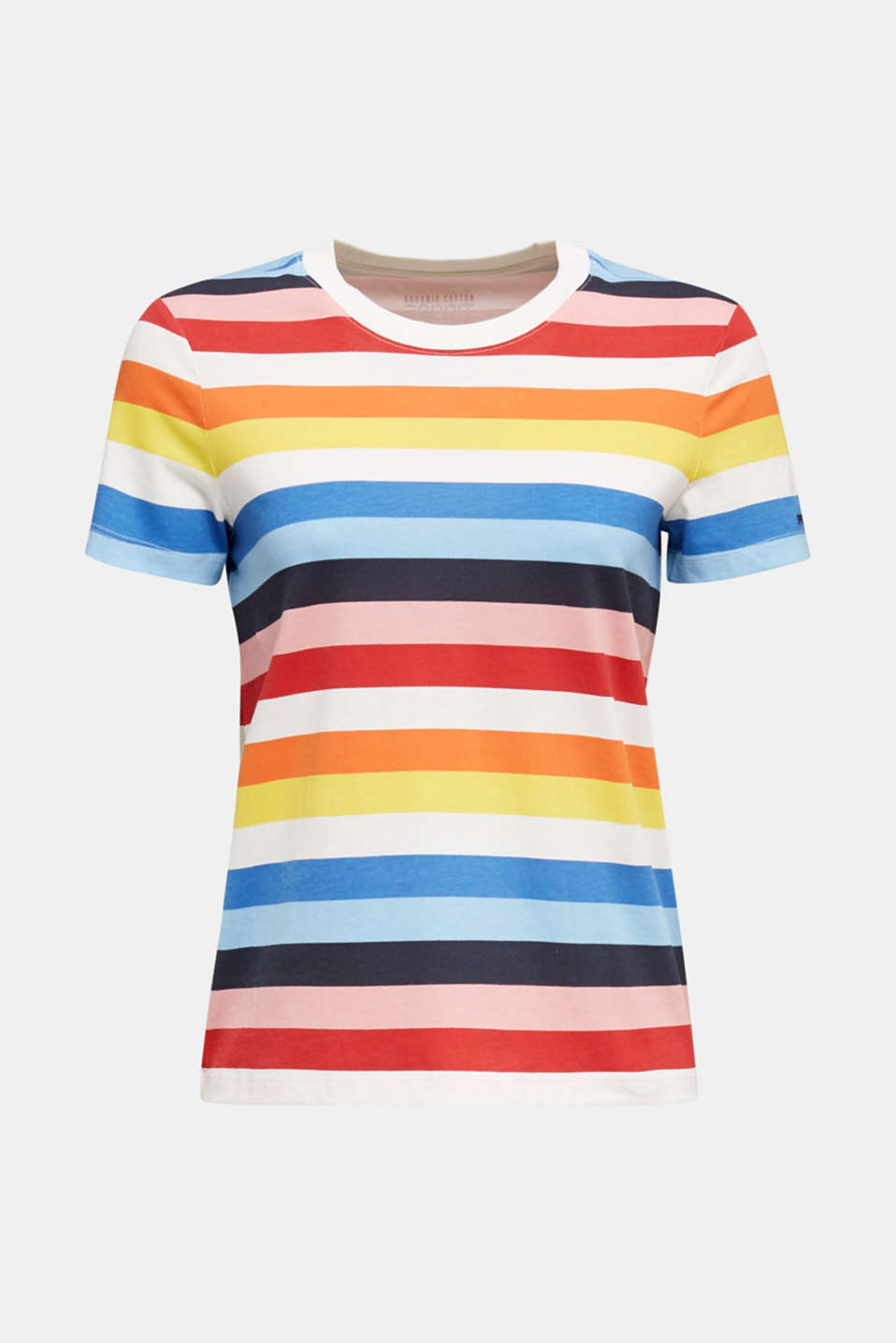 T-shirt with multi-coloured stripes, 100% cotton, BRIGHT BLUE 2, detail image number 5