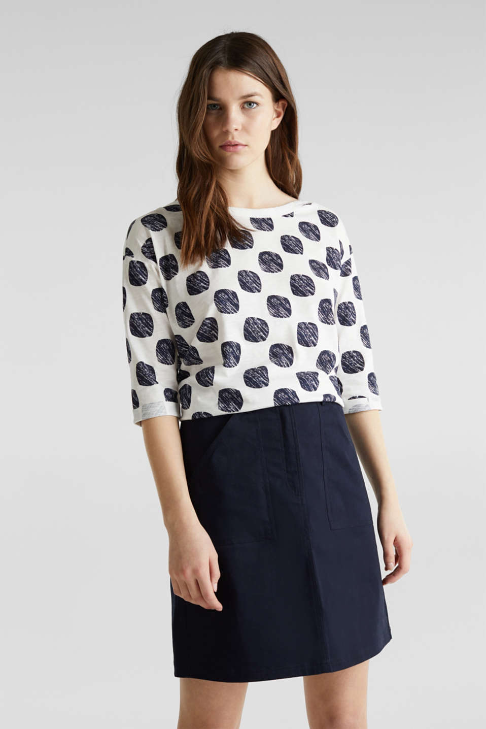 Slub T-shirt with polka dot print, 100% cotton