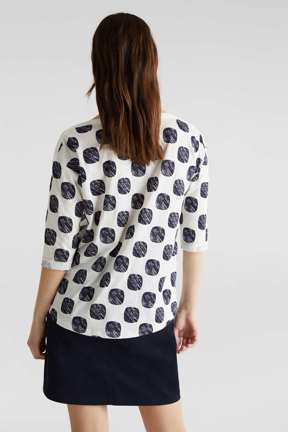 Slub T-shirt with polka dot print, 100% cotton, NAVY, detail image number 3
