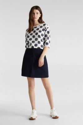 Slub T-shirt with polka dot print, 100% cotton, NAVY, detail