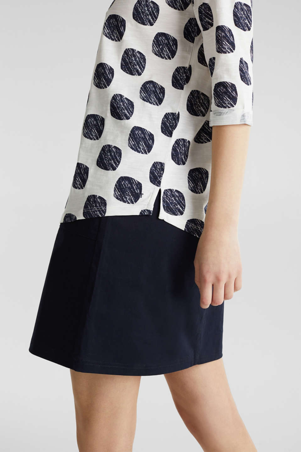 Slub T-shirt with polka dot print, 100% cotton, NAVY, detail image number 2