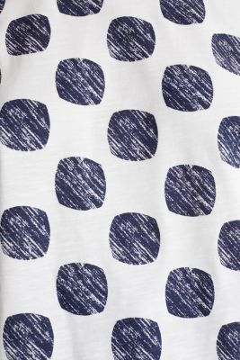 Slub T-shirt with polka dot print, 100% cotton, NAVY, detail