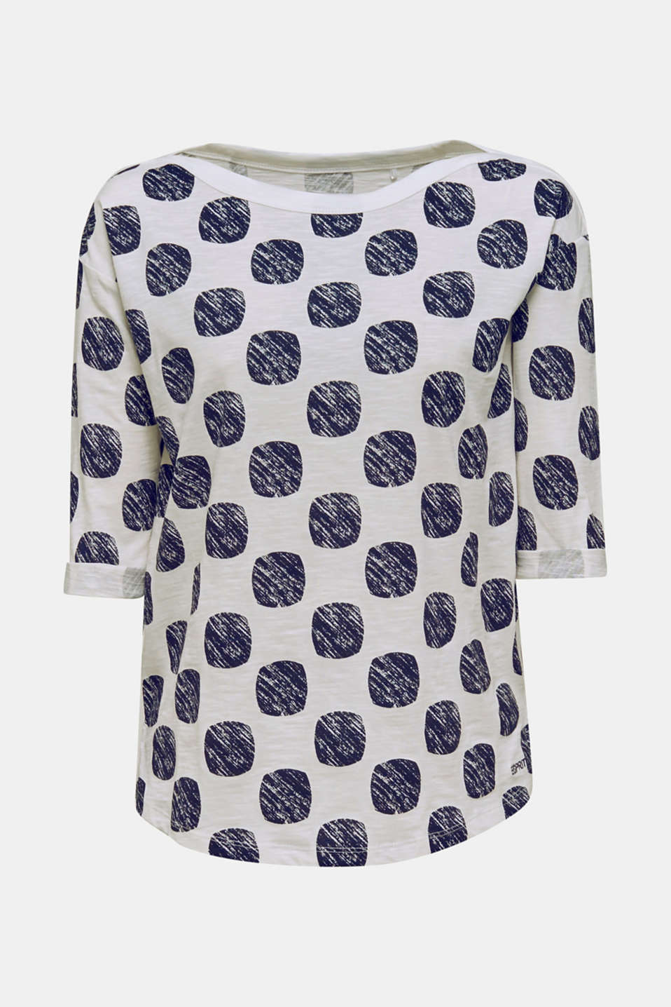 Slub T-shirt with polka dot print, 100% cotton, NAVY, detail image number 6