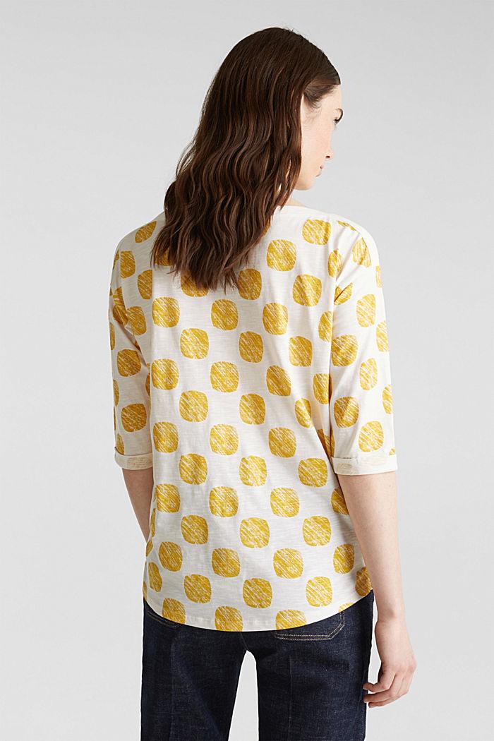 Slub T-shirt with polka dot print, 100% cotton, YELLOW, detail image number 3