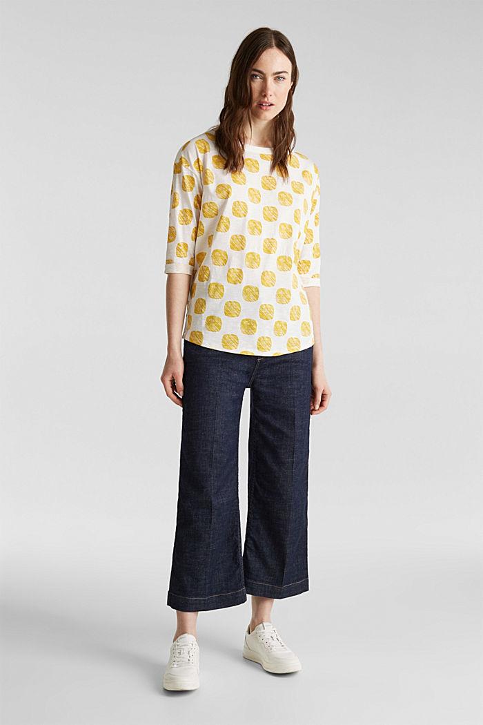 Slub T-shirt with polka dot print, 100% cotton, YELLOW, detail image number 1