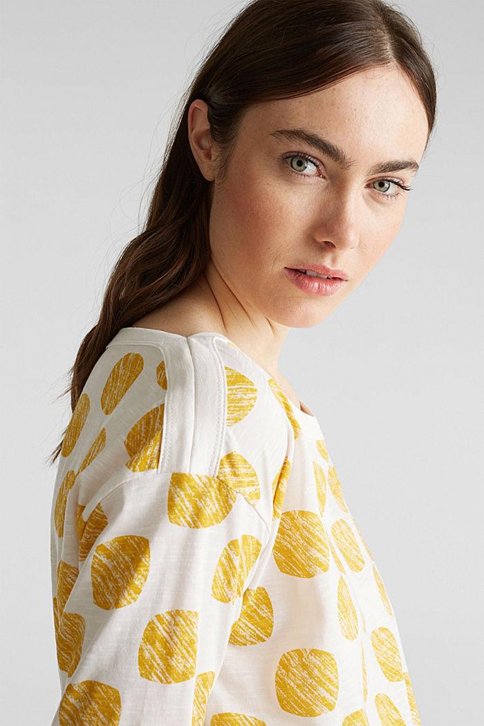 Slub T-shirt with polka dot print, 100% cotton, YELLOW, detail image number 2