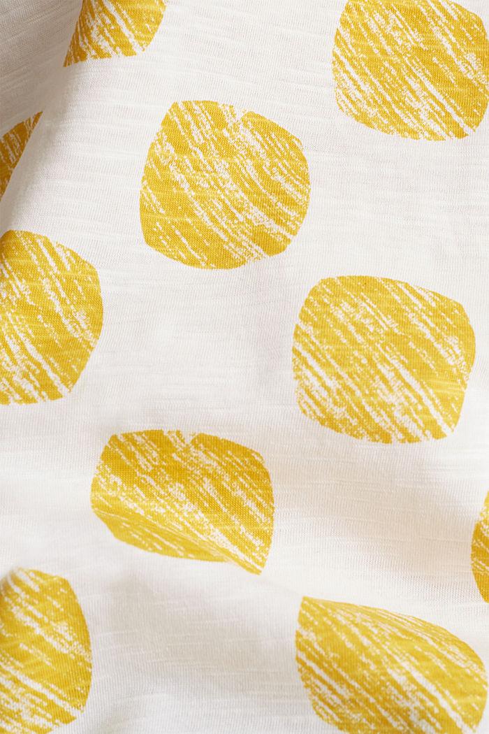 Slub T-shirt with polka dot print, 100% cotton, YELLOW, detail image number 4