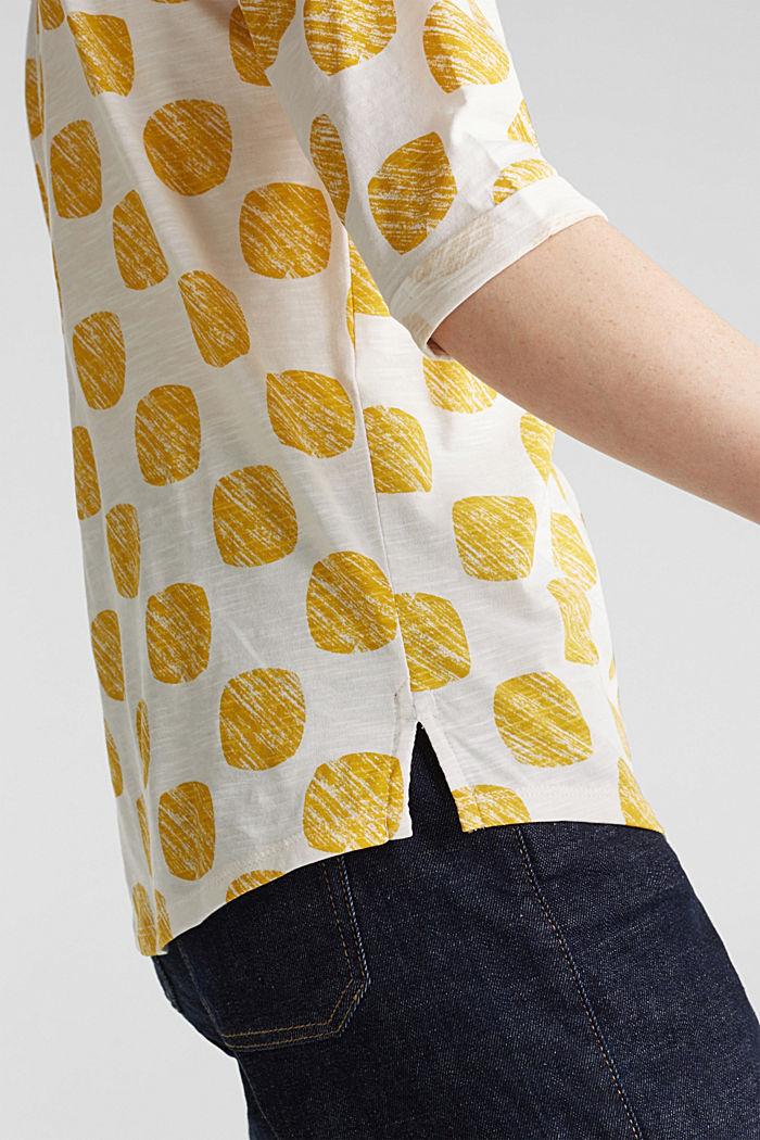 Slub T-shirt with polka dot print, 100% cotton, YELLOW, detail image number 5