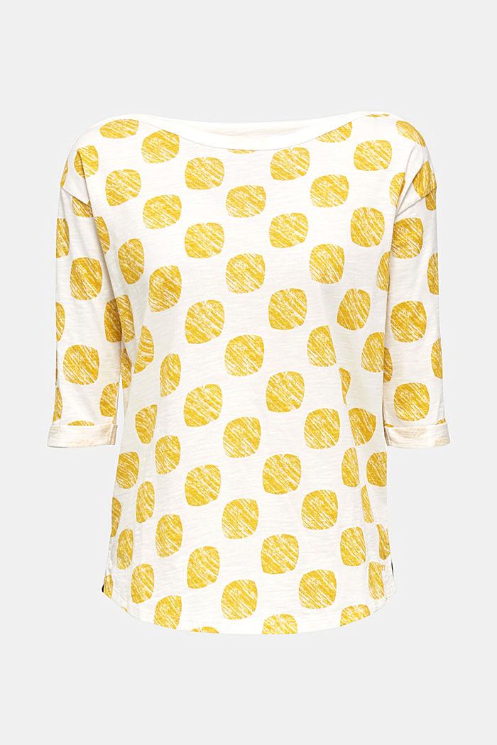 Slub T-shirt with polka dot print, 100% cotton, YELLOW, detail image number 6