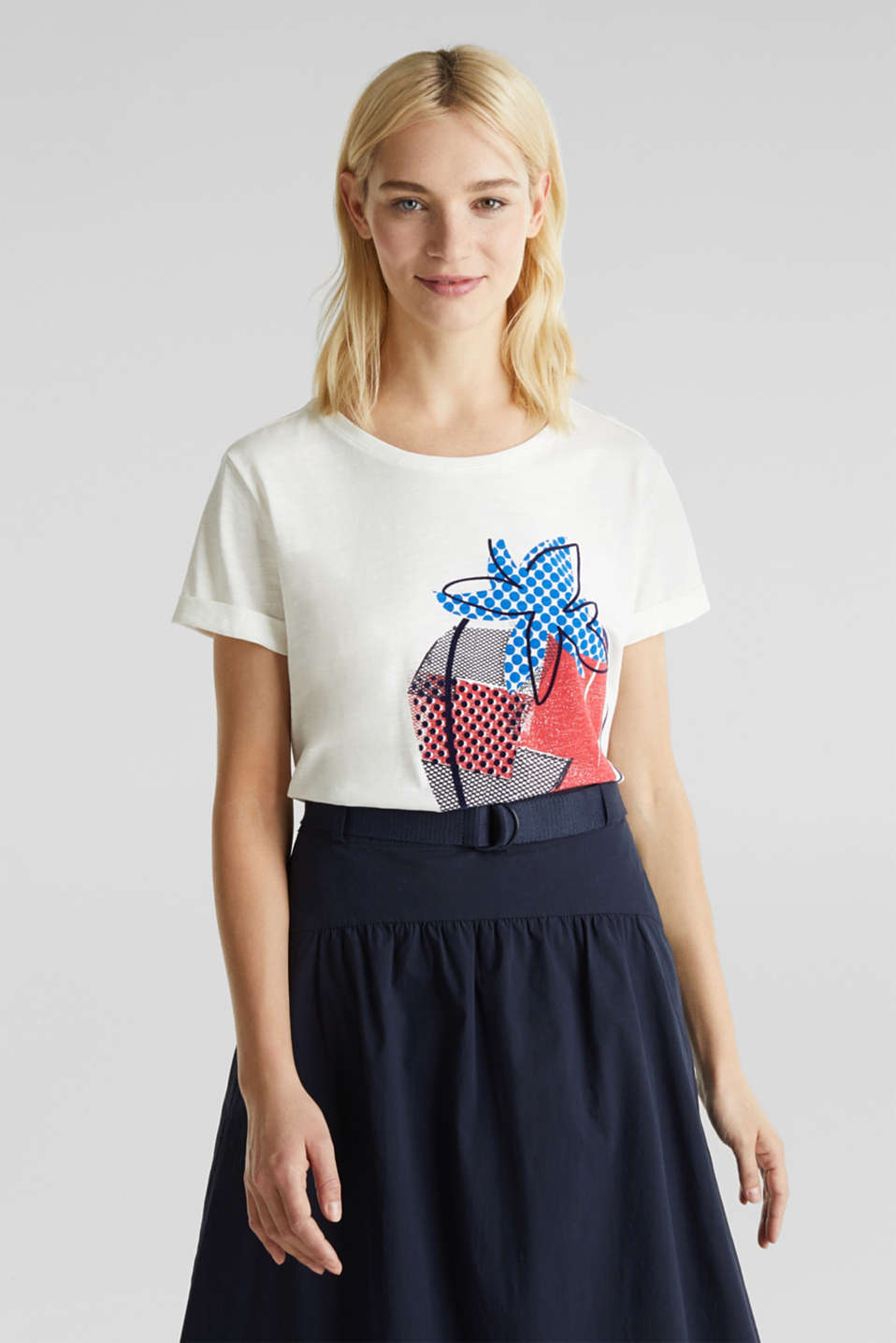 Print T-shirt in 100% cotton, OFF WHITE, detail image number 0
