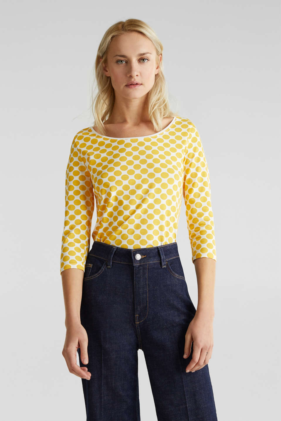 Organic cotton top with stretch, YELLOW, detail image number 0
