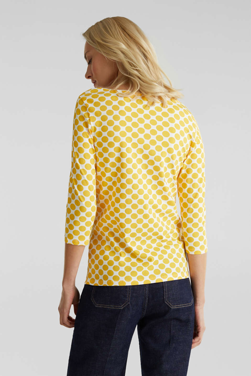 Organic cotton top with stretch, YELLOW, detail image number 3