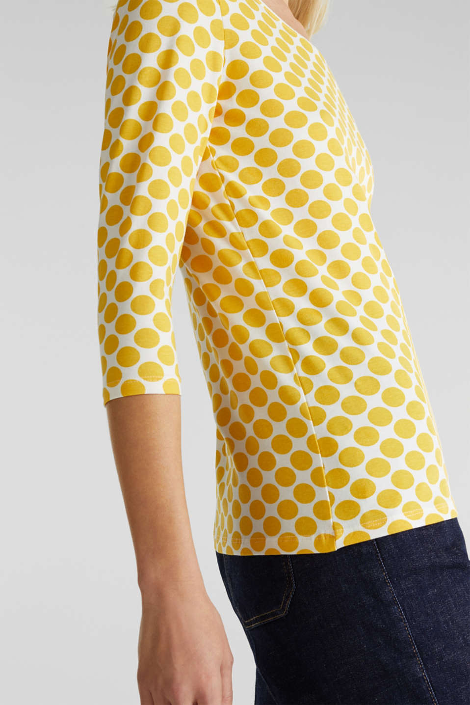 Organic cotton top with stretch, YELLOW, detail image number 2