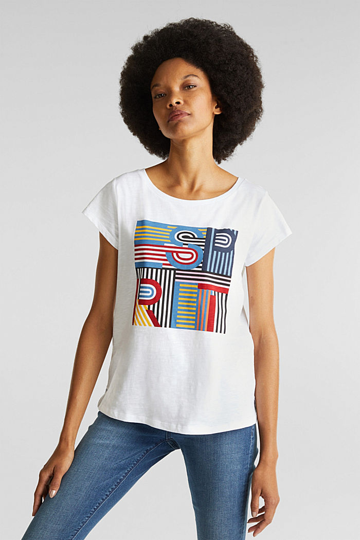 Slub T-shirt with print, 100% cotton, WHITE, detail image number 0