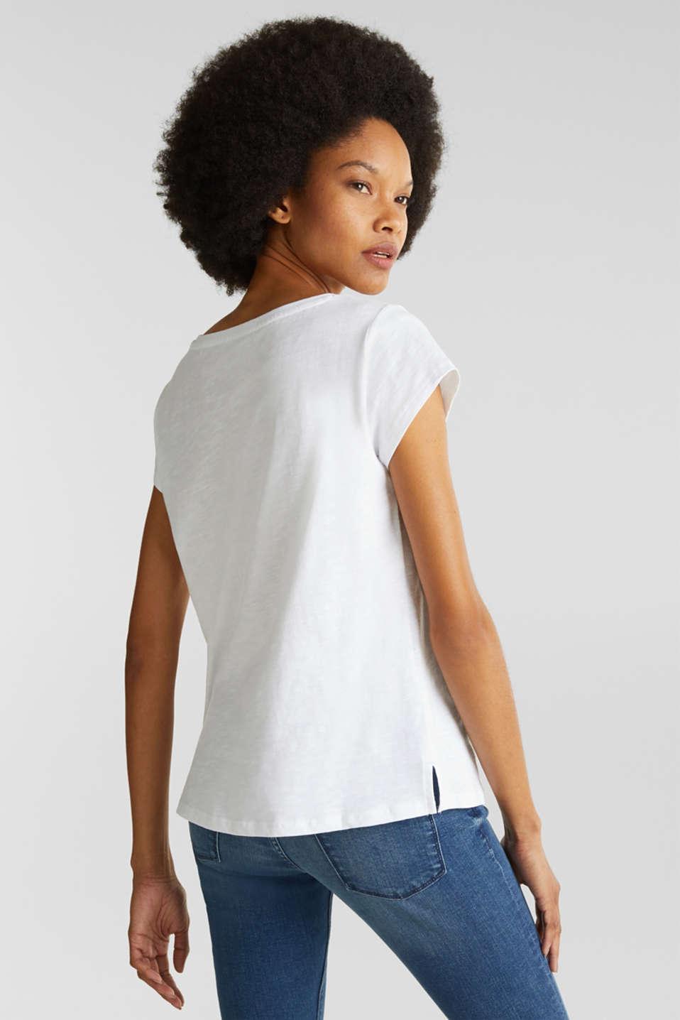 Slub T-shirt with print, 100% cotton, WHITE, detail image number 2