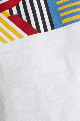 Slub T-shirt with print, 100% cotton, WHITE, detail
